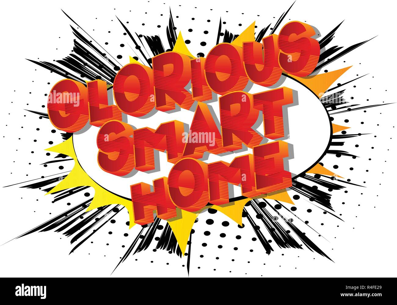 Glorious Smart Home - Vector illustrated comic book style phrase on abstract background. - Stock Image