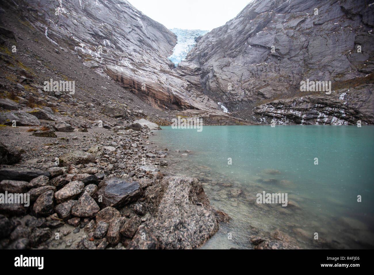 Briksdal Glacier and Lake Stock Photo