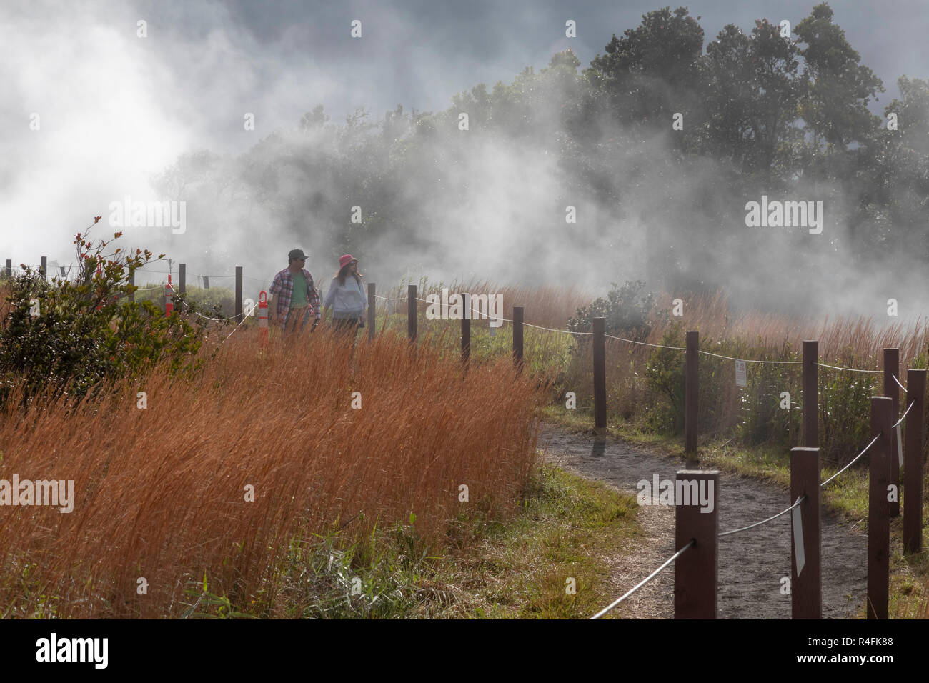 Hawaii Volcanoes National Park, Hawaii - Hikers on a trail at the edge of the Kilauea volcano. The steam comes from the volcano's steam vents. - Stock Image