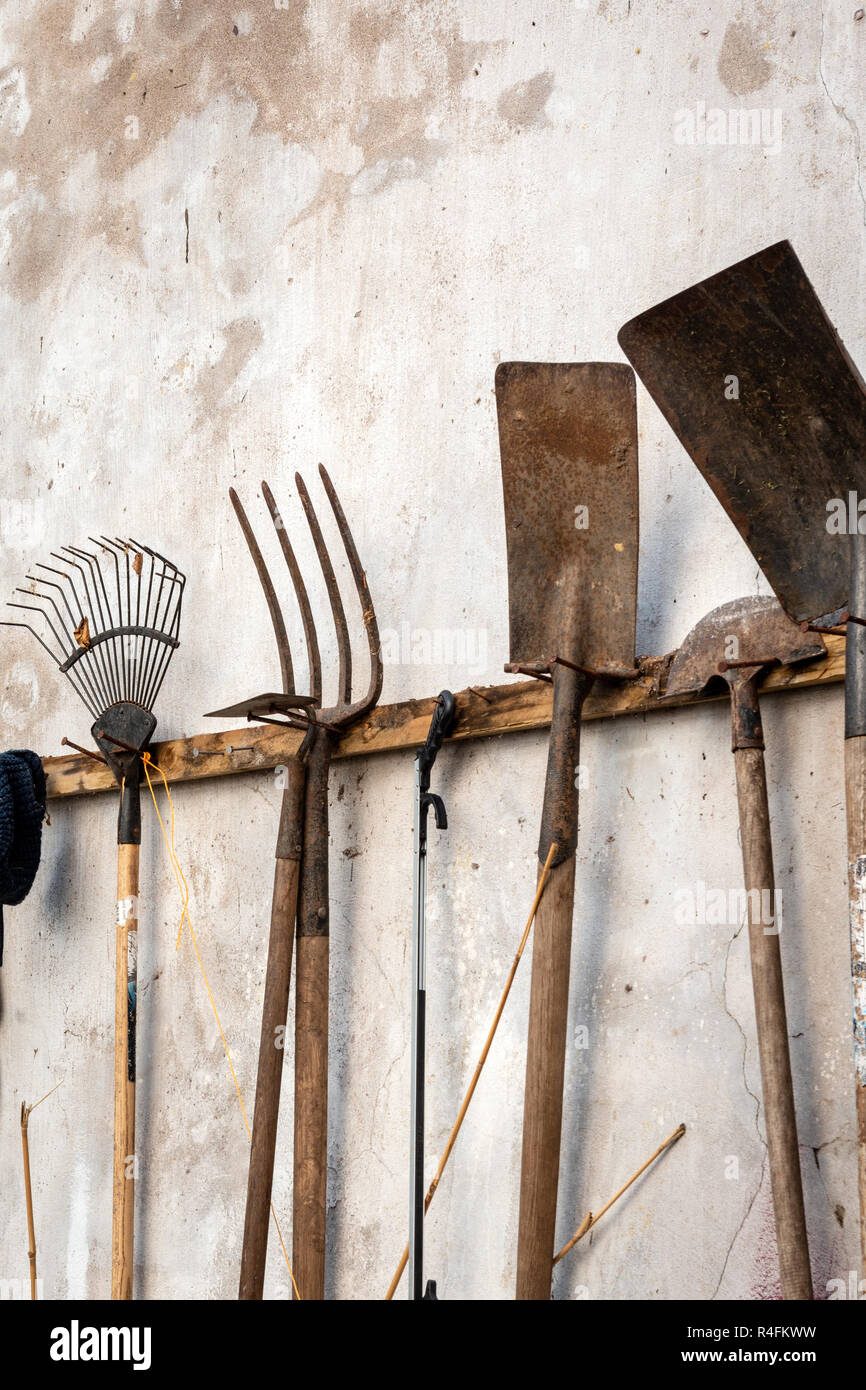 A Collection Of Various Used Rusty Garden Tools Hanging On White