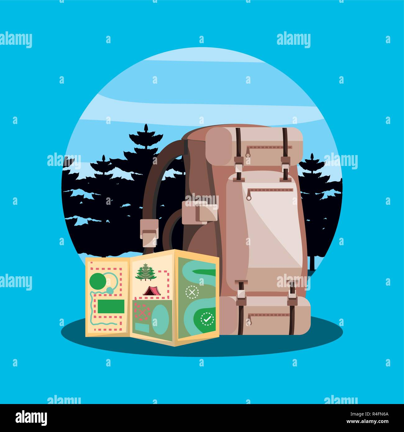 bag of camping with map in landscape vector illustration design - Stock Vector