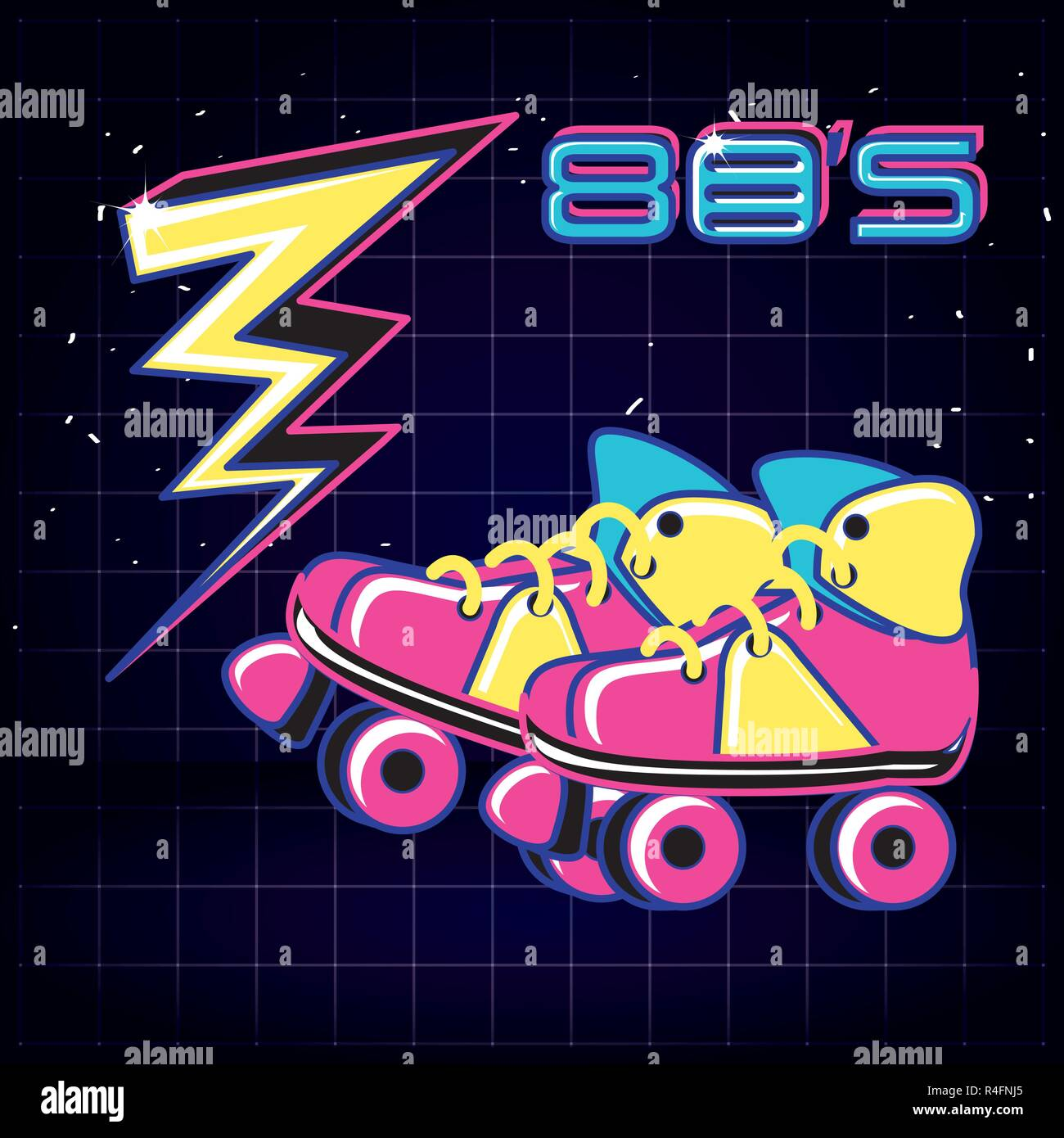 roller skates of eighties retro vector illustration design - Stock Vector