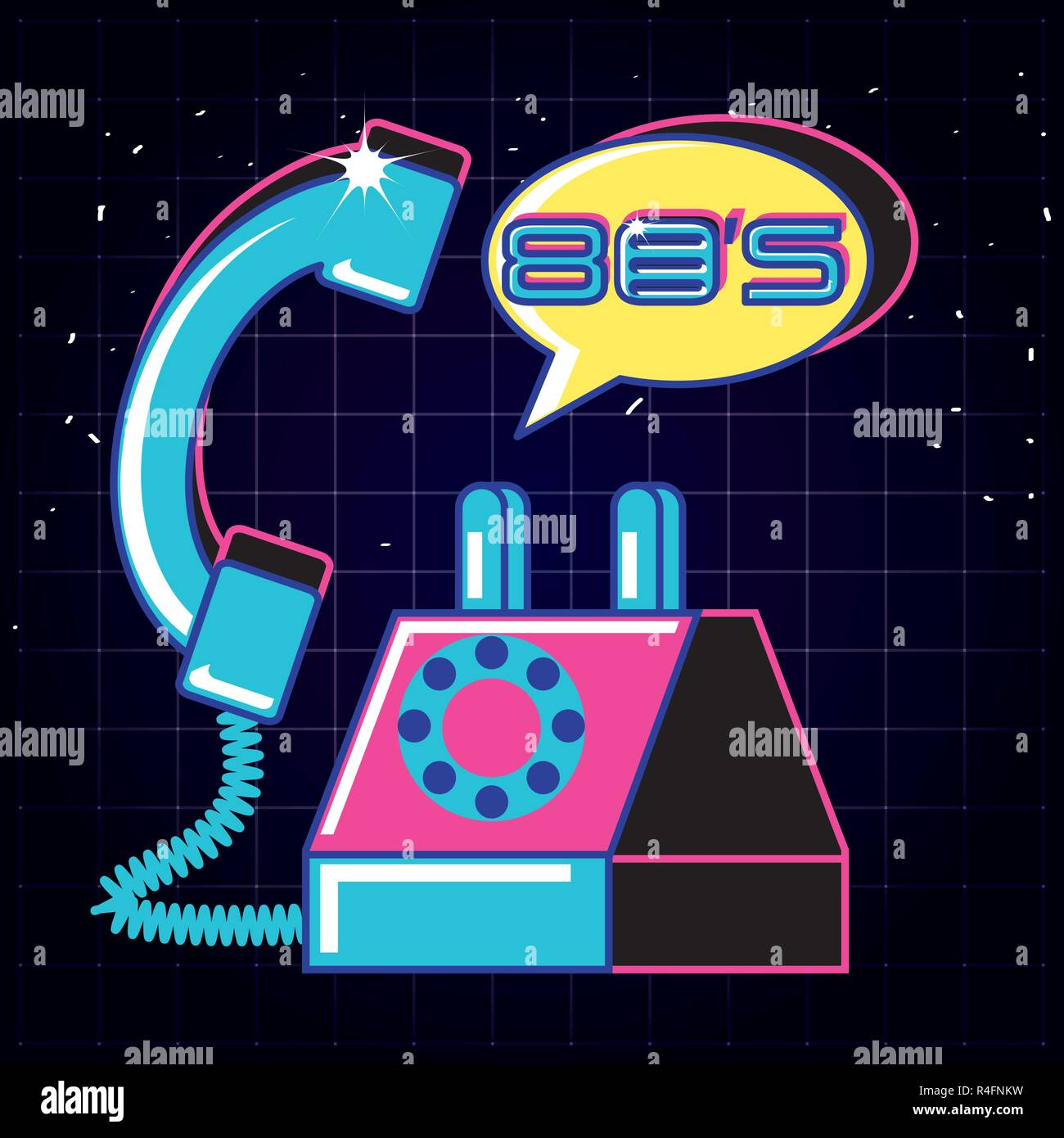 phone of eighties retro isolated icon vector illustration design - Stock Vector