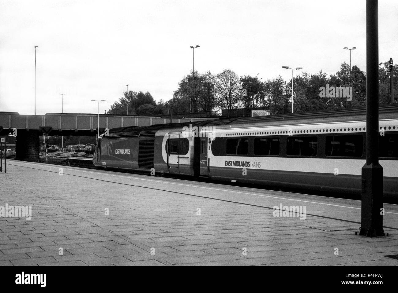 On the platform at Leicester Train Station shot using a Pentax K1000 slr - Stock Image