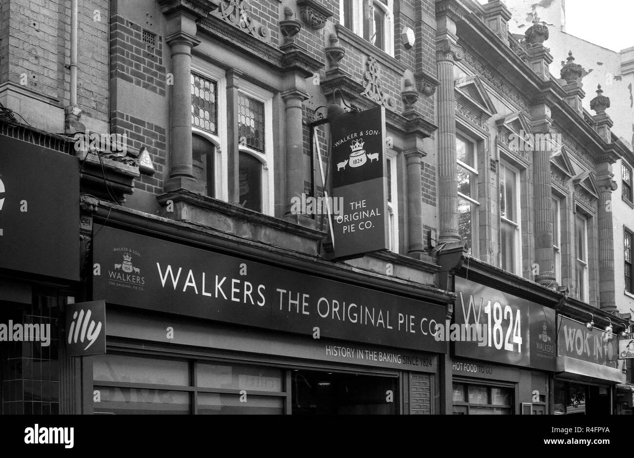 Walkers The Original Pie Co. in Leicester City shot on a Pentax K1000 slr camera - Stock Image