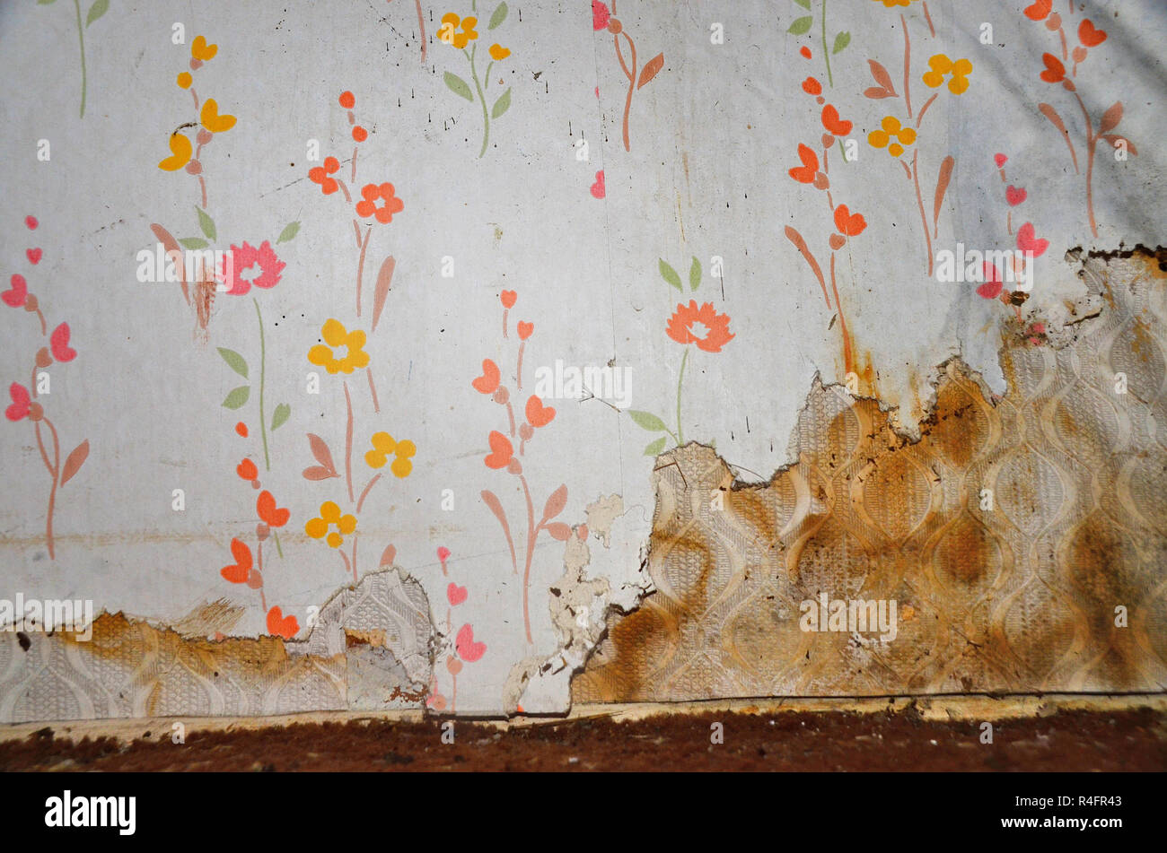 old floral wallpaper peeling off the wall due to  damp. - Stock Image