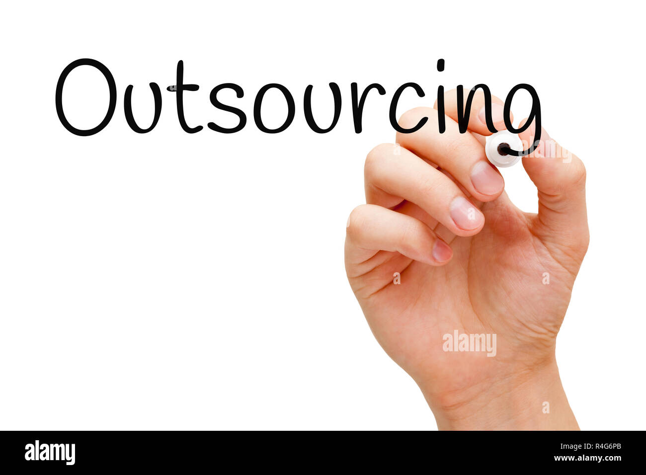 Outsourcing Handwritten With Black Marker - Stock Image