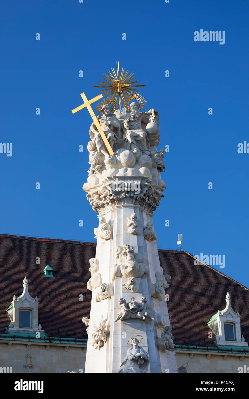 Holy Trinity Statue in Old Buda, Budapest, Hungary - Stock Image