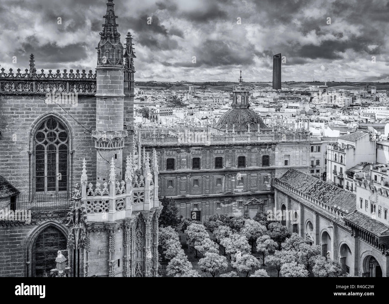 Seville cathedral  and surrounding section of Seville city, viewed from the Giralda bell tower, Seville, Andalucia, Spain Stock Photo