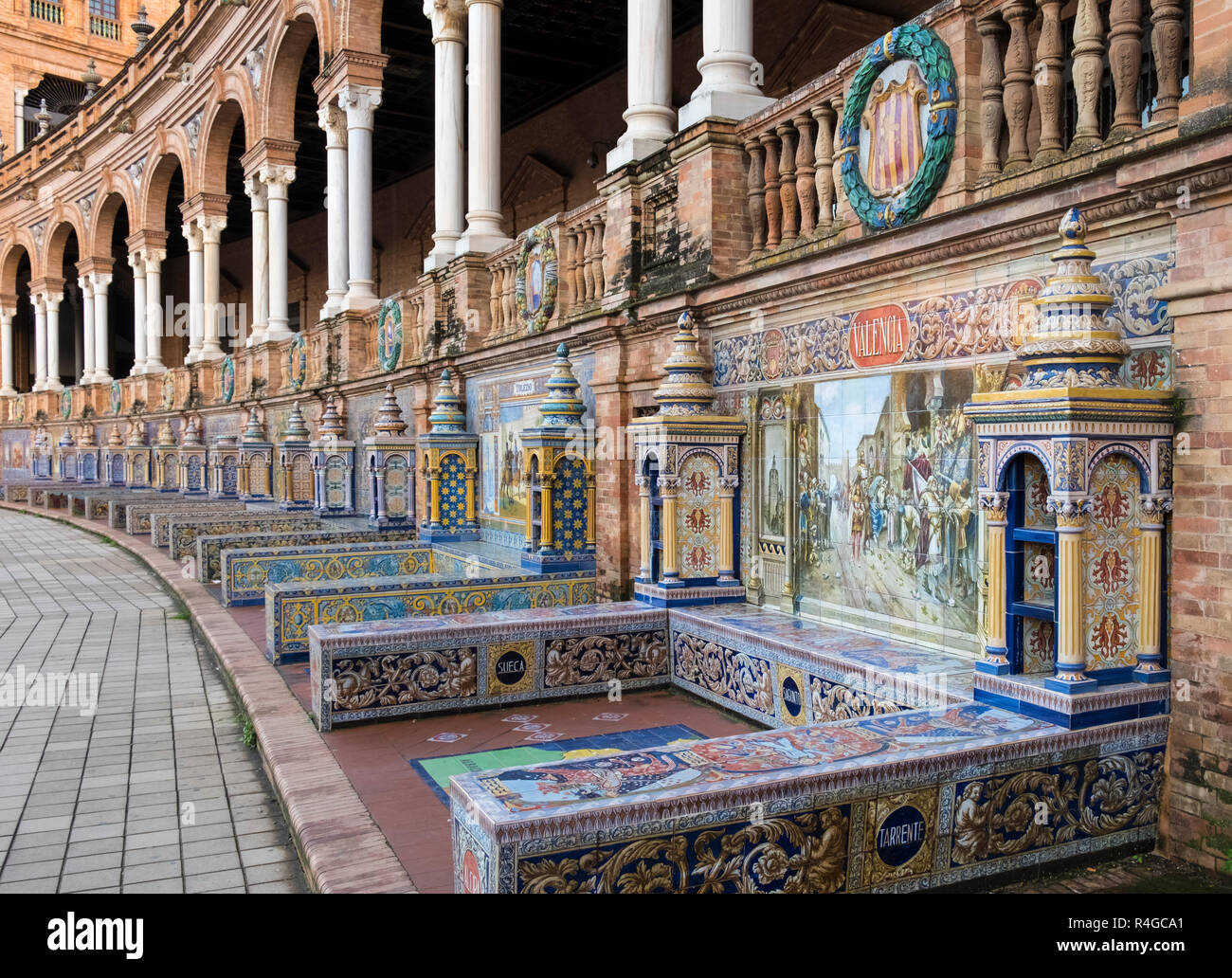 Detail of decorative azulejos tiles used for the Ibero-Americana Expo 1929 Province Alcoves at Plaza de Espana, Seville, Andalucia , Spain - Stock Image