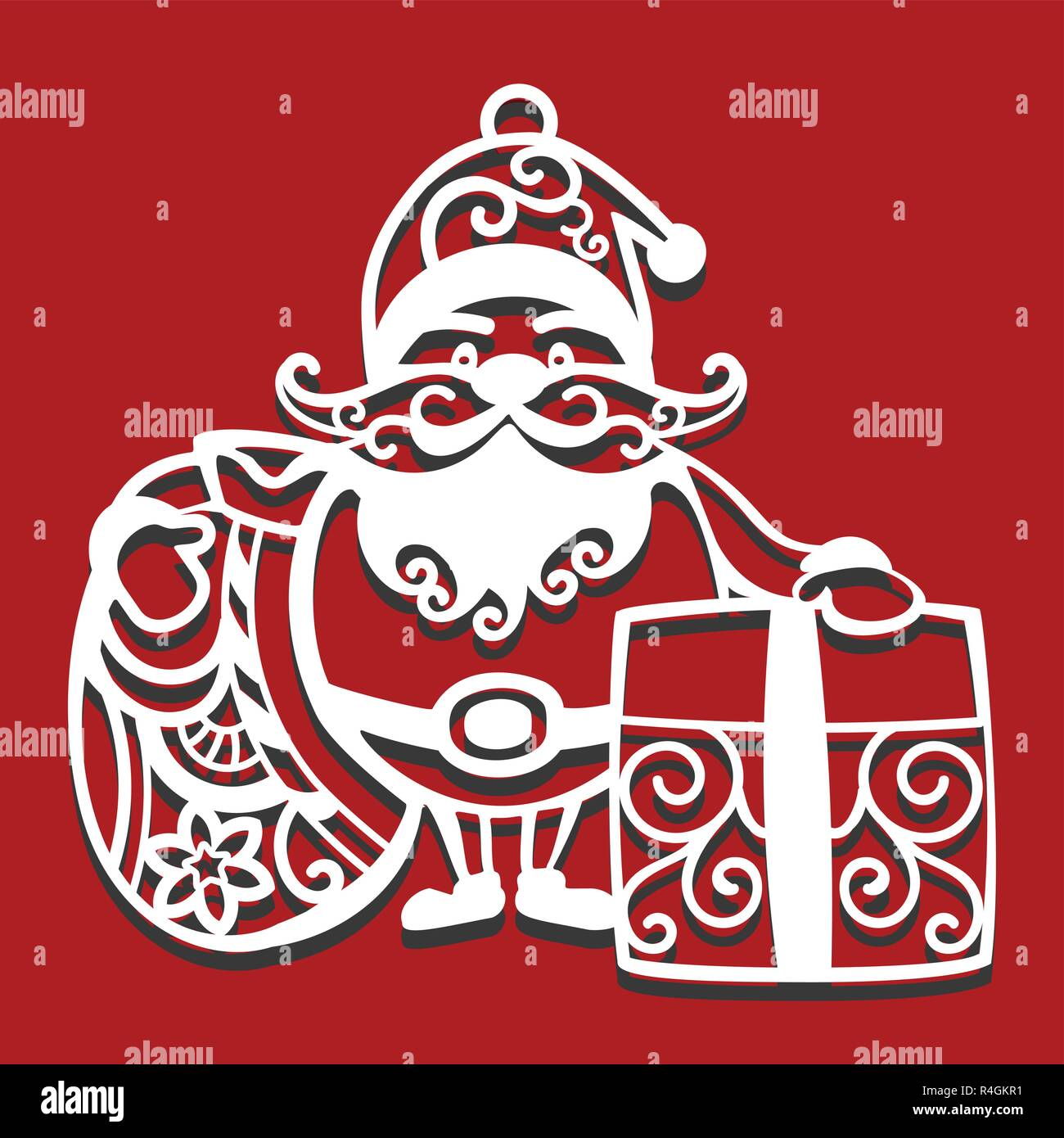 santa claus holding christmas bag and gift for laser cutting new year card