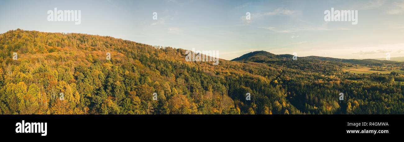 Inspirational aerial landscape, autumn forest and fields, drone point of view. Inspiring autumn season landscape panorama - Stock Image