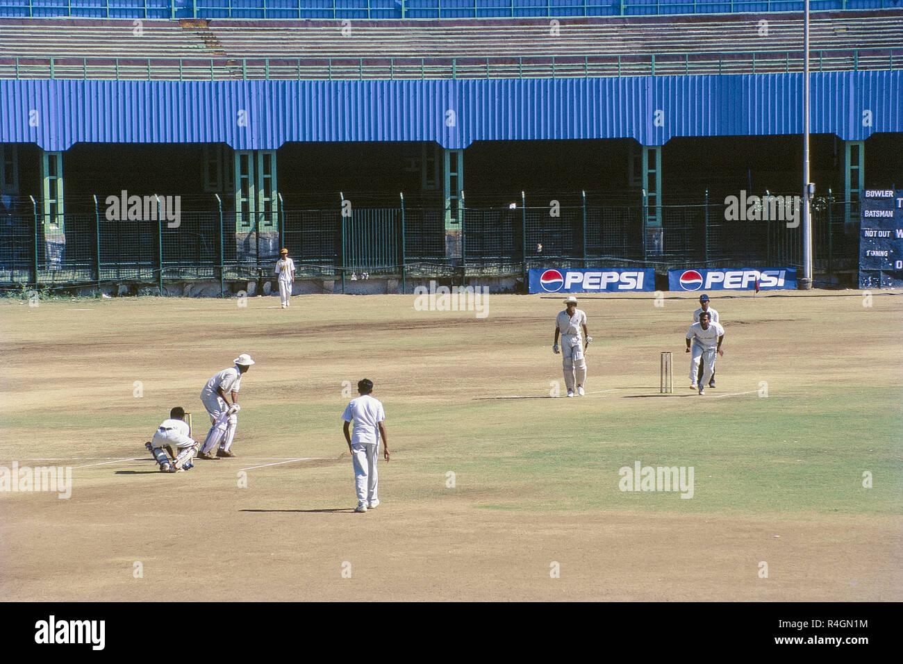 Cricket match at Jawaharlal Nehru Stadium, Pune, Maharashtra, India, Asia Stock Photo