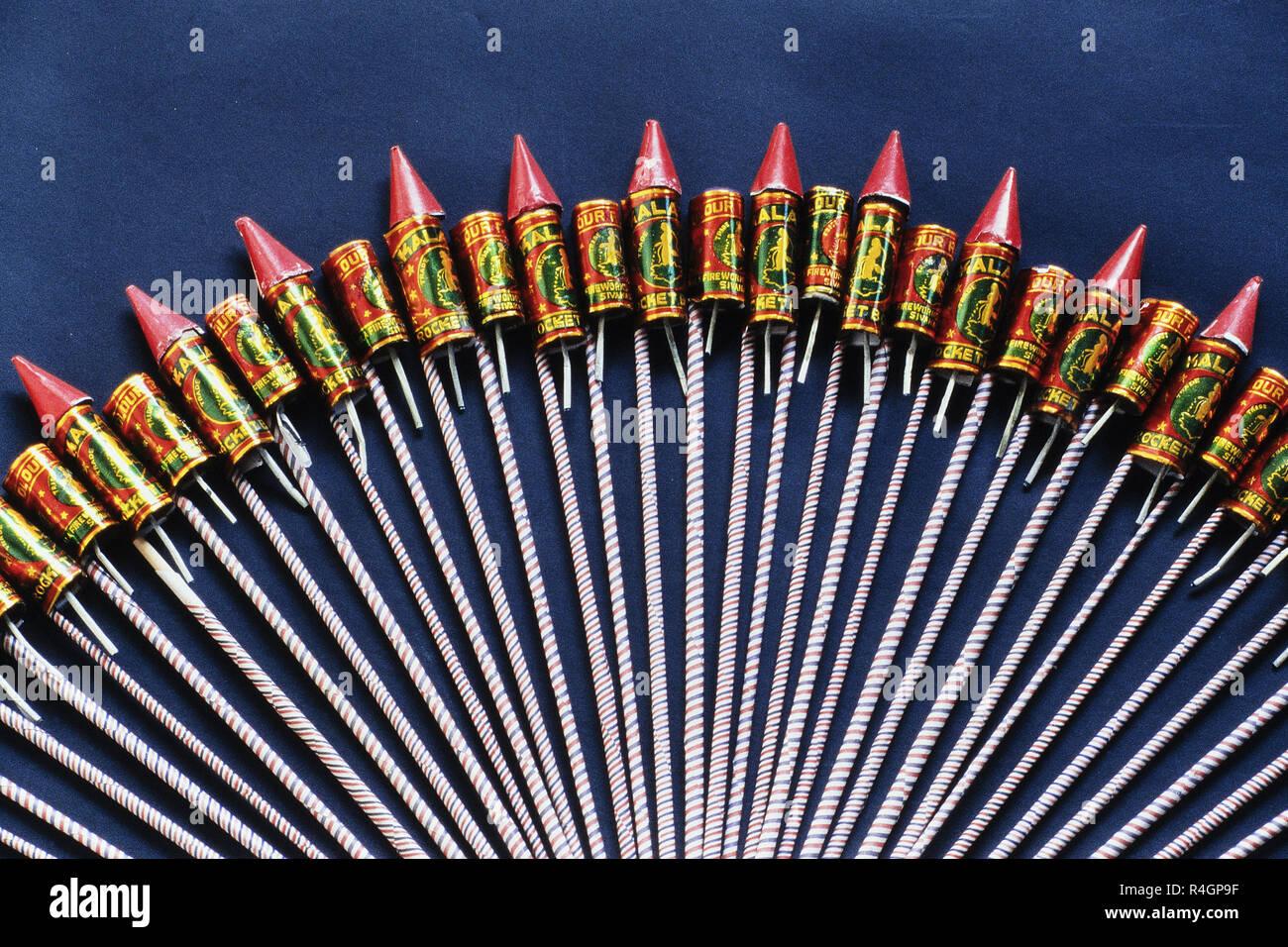 Firecracker Rockets for Diwali festival, Mumbai, India, Asia Stock Photo
