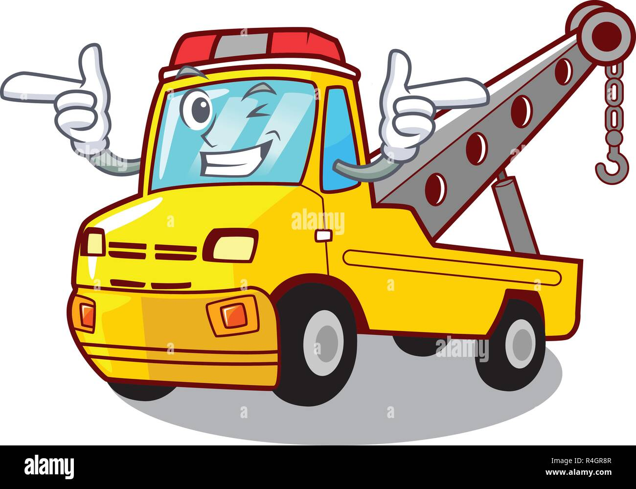 Wink truck tow the vehicle with mascot - Stock Image