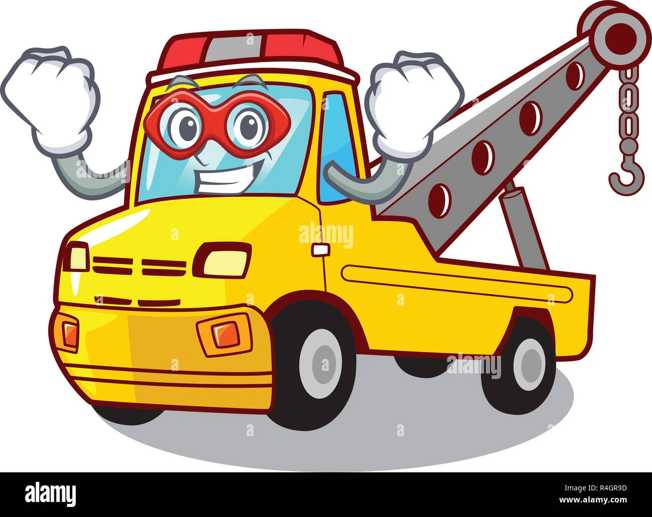 Super hero truck tow the vehicle with mascot - Stock Vector
