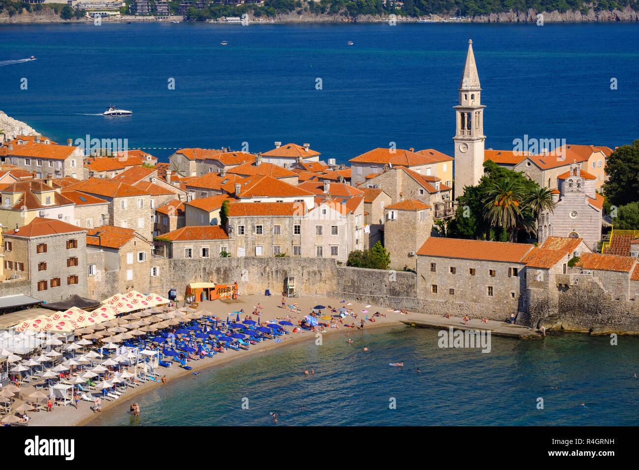 Old town with city beach, Budva, Adriatic coast, Montenegro - Stock Image