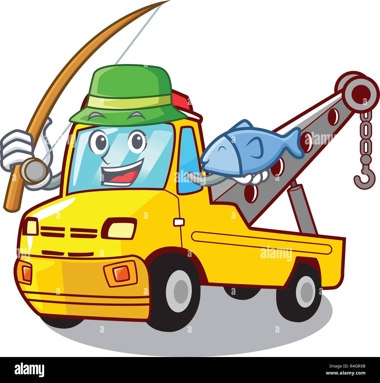 Fishing transportation on truck towing cartoon car - Stock Image