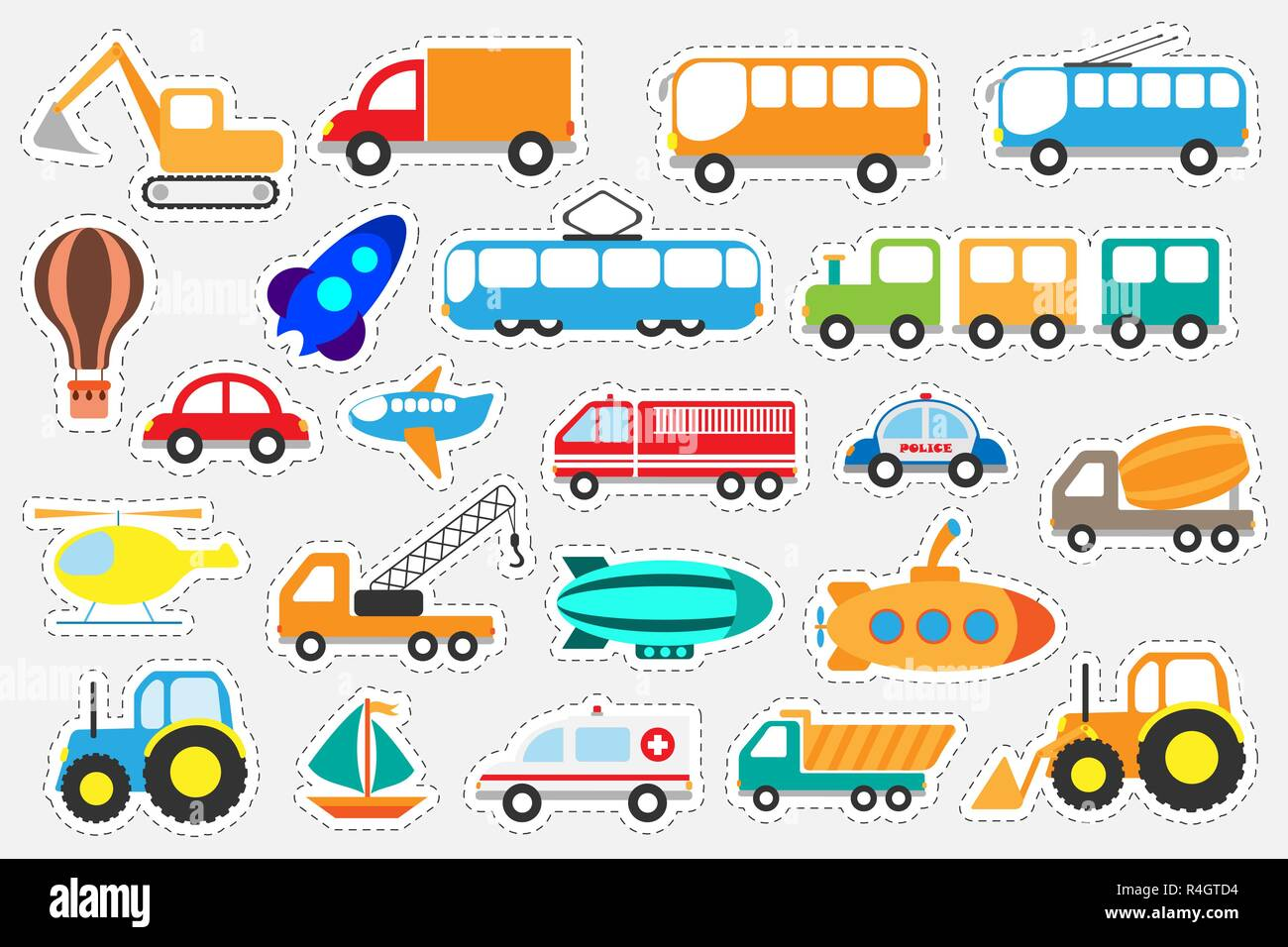 Different Colorful Transport For Children, Fun Education