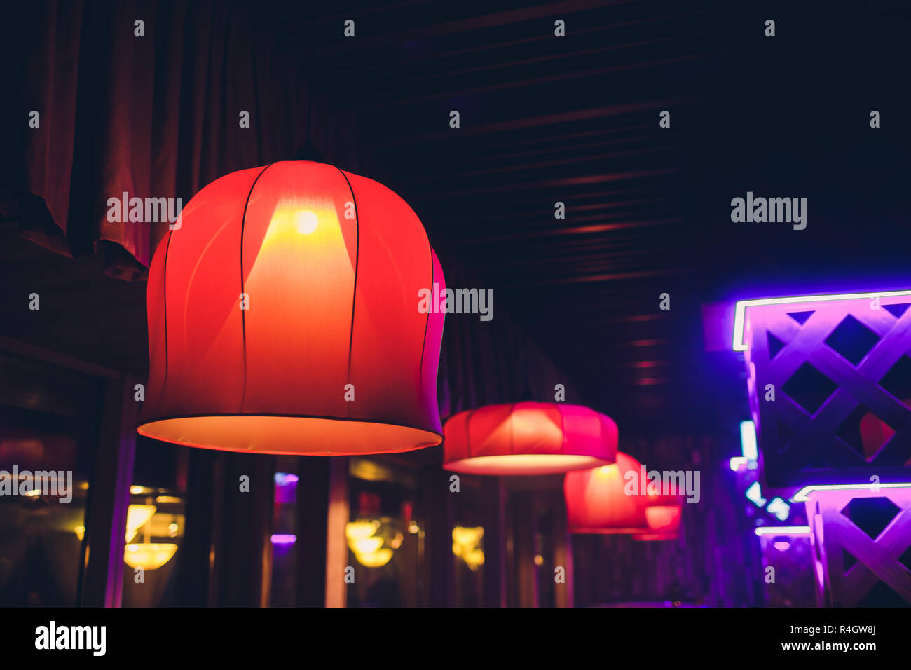 the red lantern chandelier in chinese traditional style on the mezzanine Stock Photo