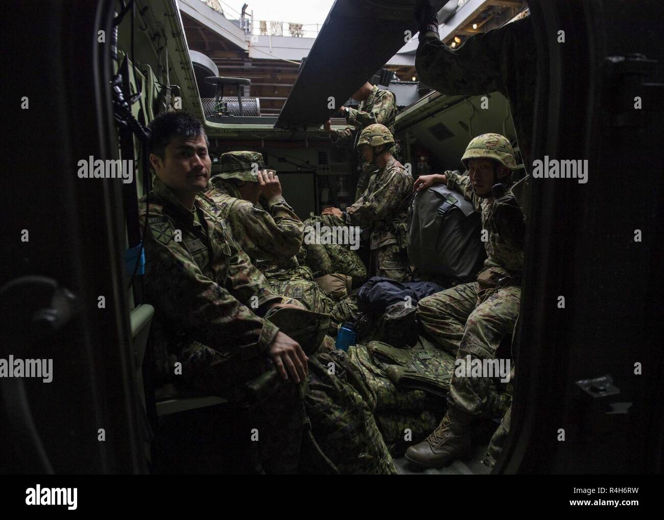 Subic Bay Republic Of The Philippines Oct 3 2018 Soldiers From The Japan Ground Self Defense Force Jgsdf Amphibious Rapid Deployment Brigade Ardb Sit Inside An Aav P7 A1 Assault Amphibious Vehicle Inside The