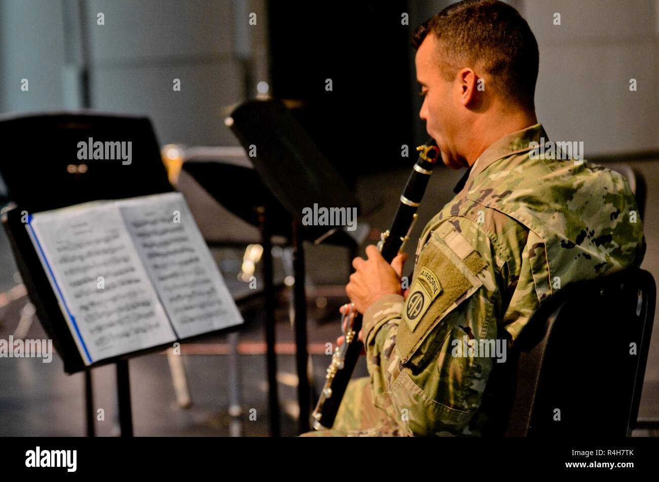 U S  Army Spc  Tyler Goudlock, a musician assigned to the