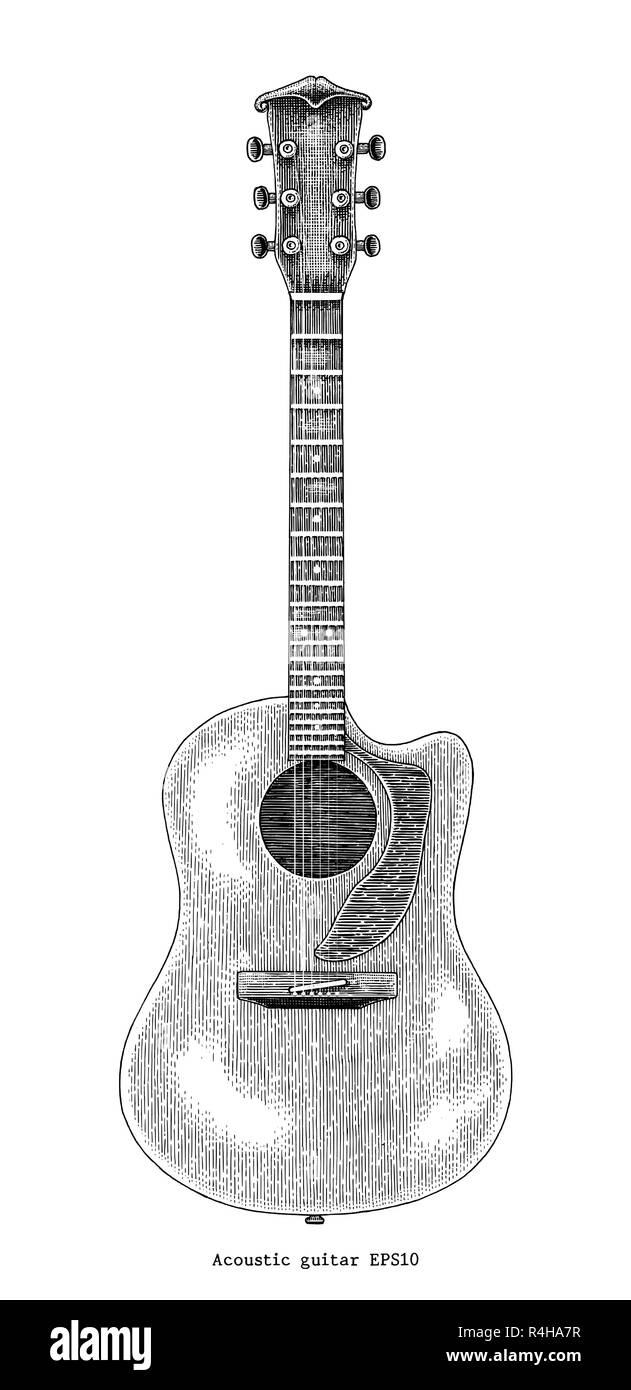 Acoustic guitar hand drawing vintage engraving illustration Stock Vector