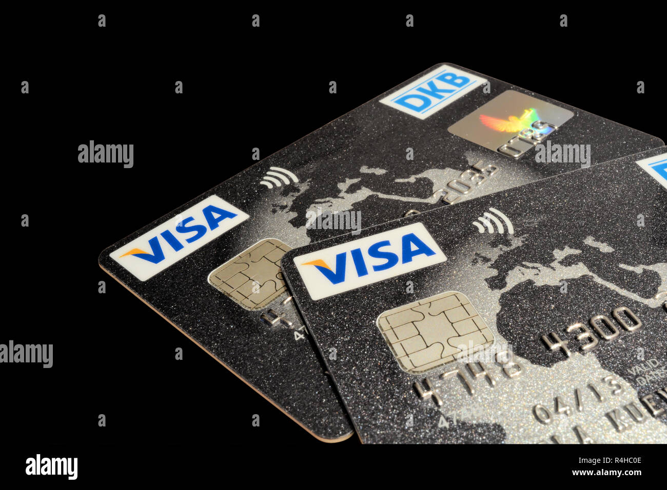 Visa cards with black background - Stock Image