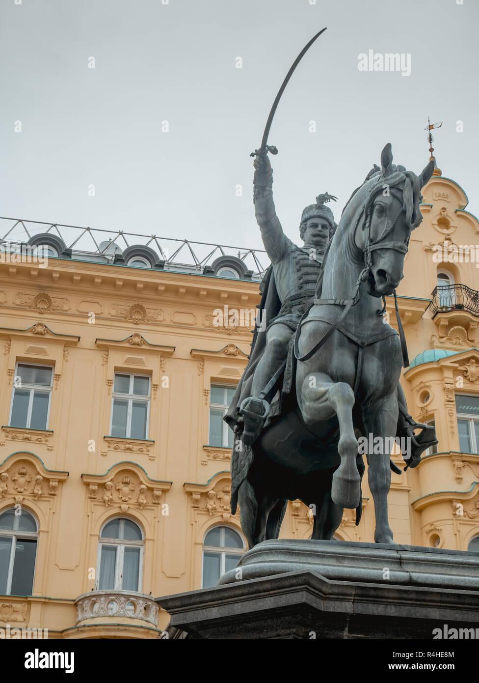 Statue of ban Josip Jelacic on main square in Zagreb, Croatia Stock Photo