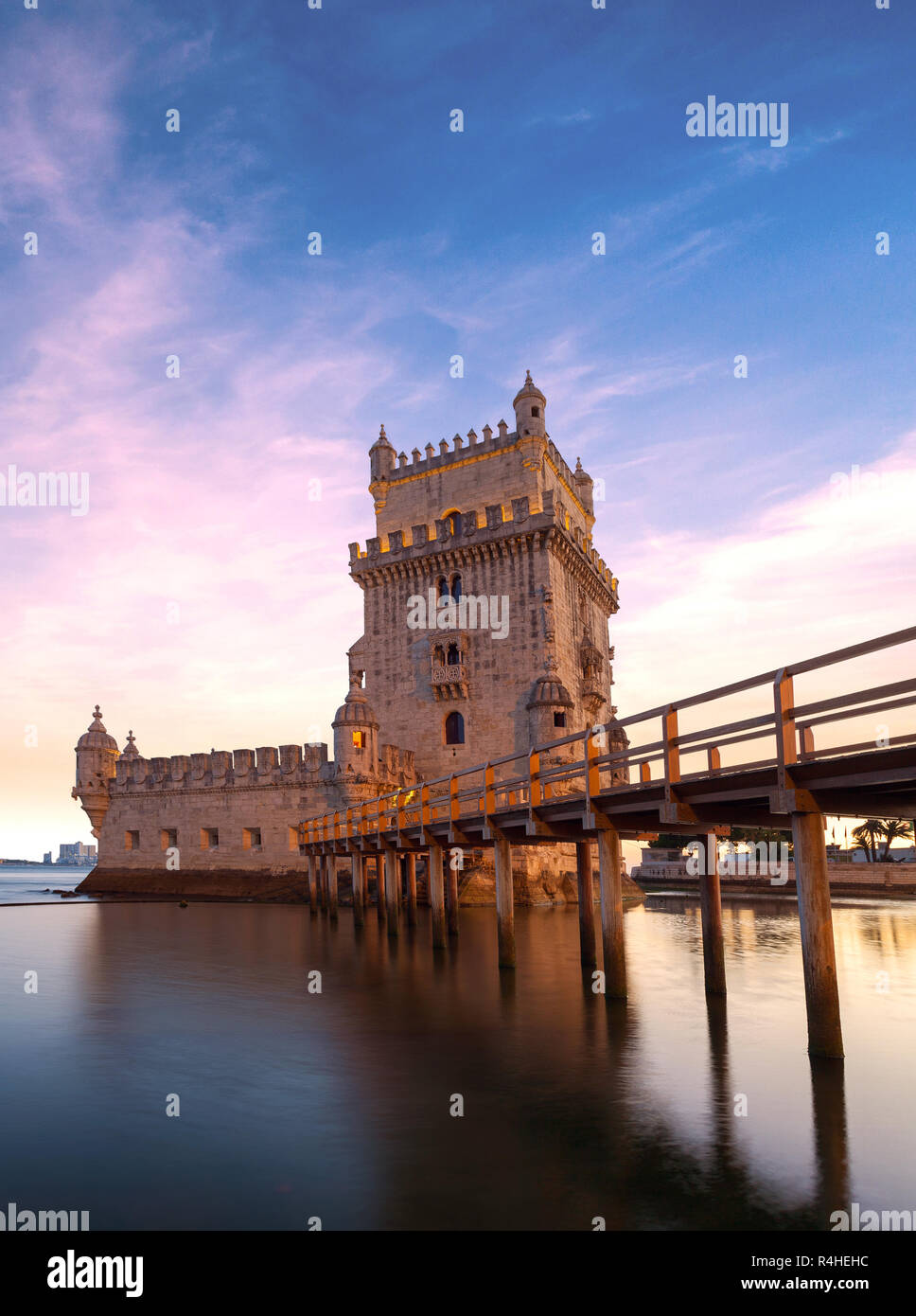 Belem tower at sunset in Lisbon, Portugal Stock Photo
