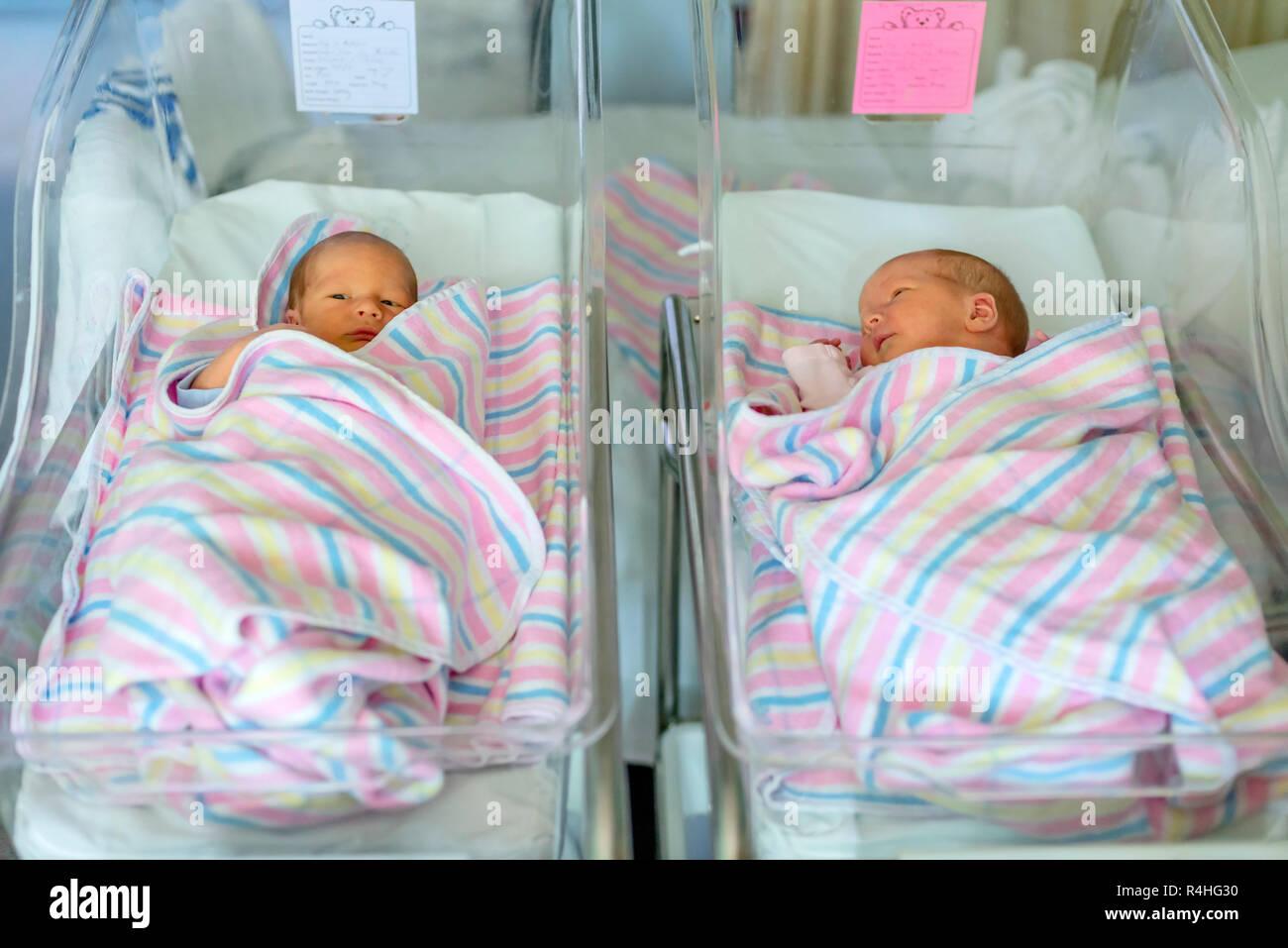 newborn twins boy and girl in hospital under blankets ...Newborn Baby Boy In Hospital Nursery