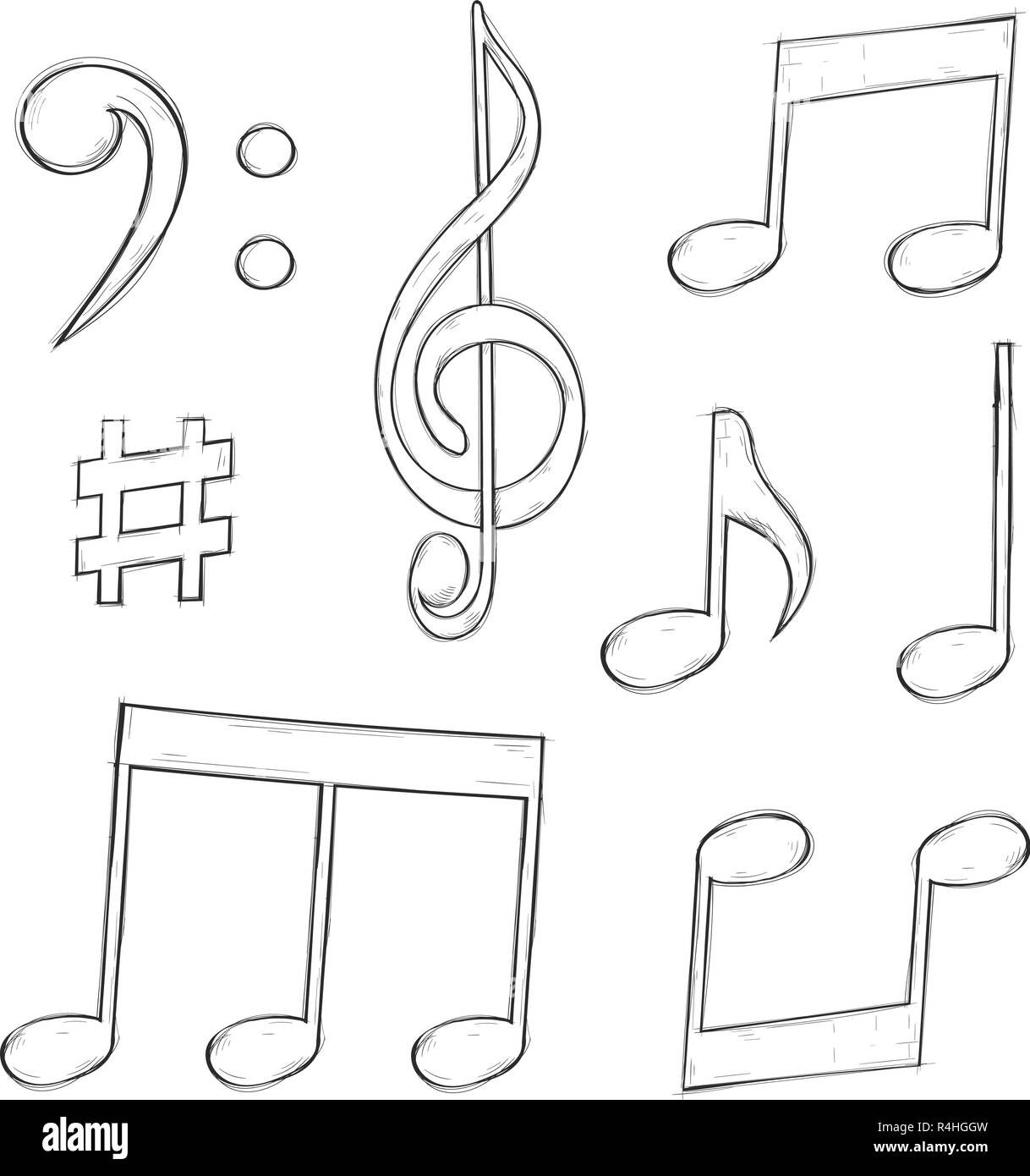 Music signs notes and symbols isolated on white background