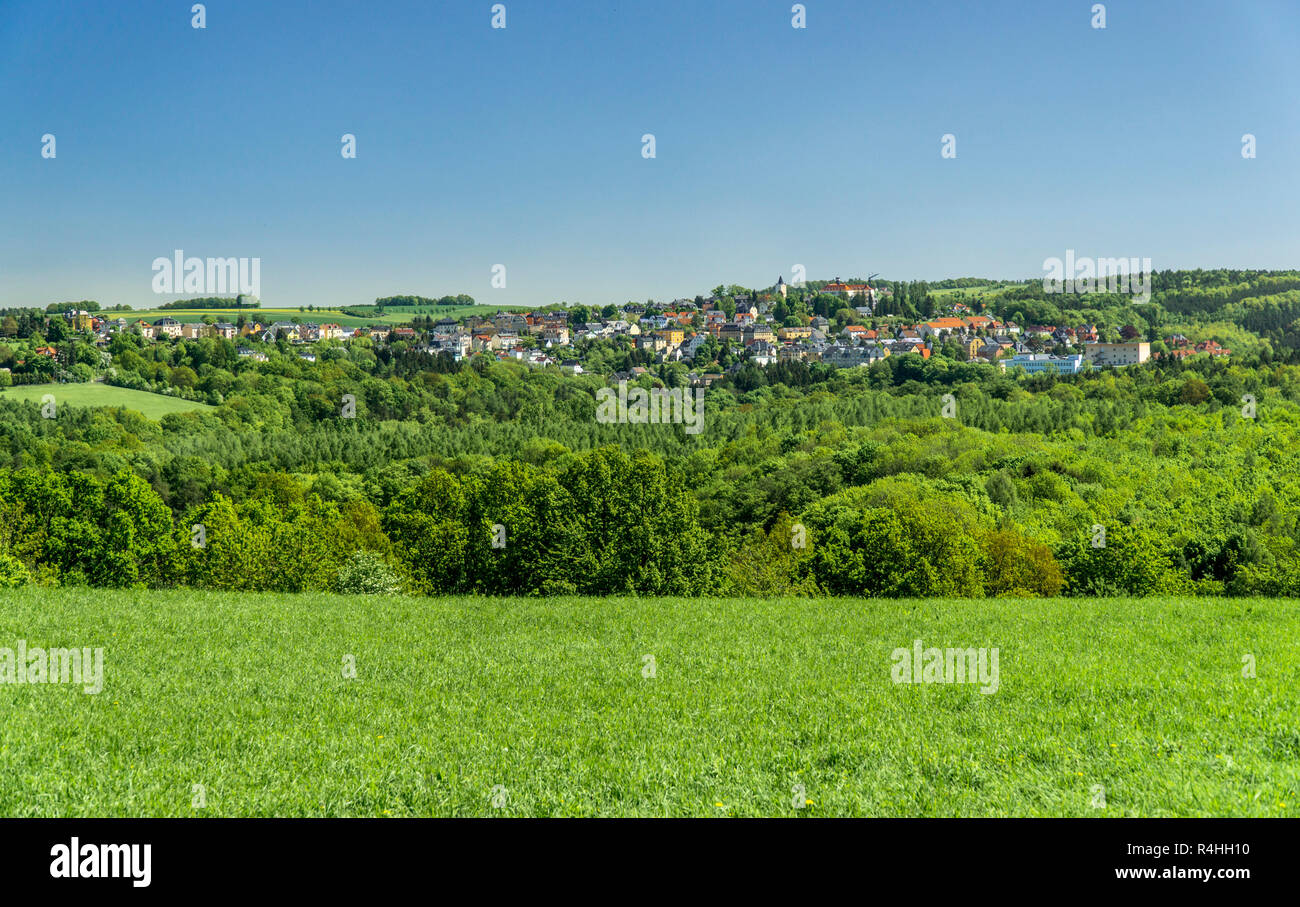 Provincial town of Rabenau in the Osterzgebirge, Kleinstadt Rabenau im Osterzgebirge - Stock Image