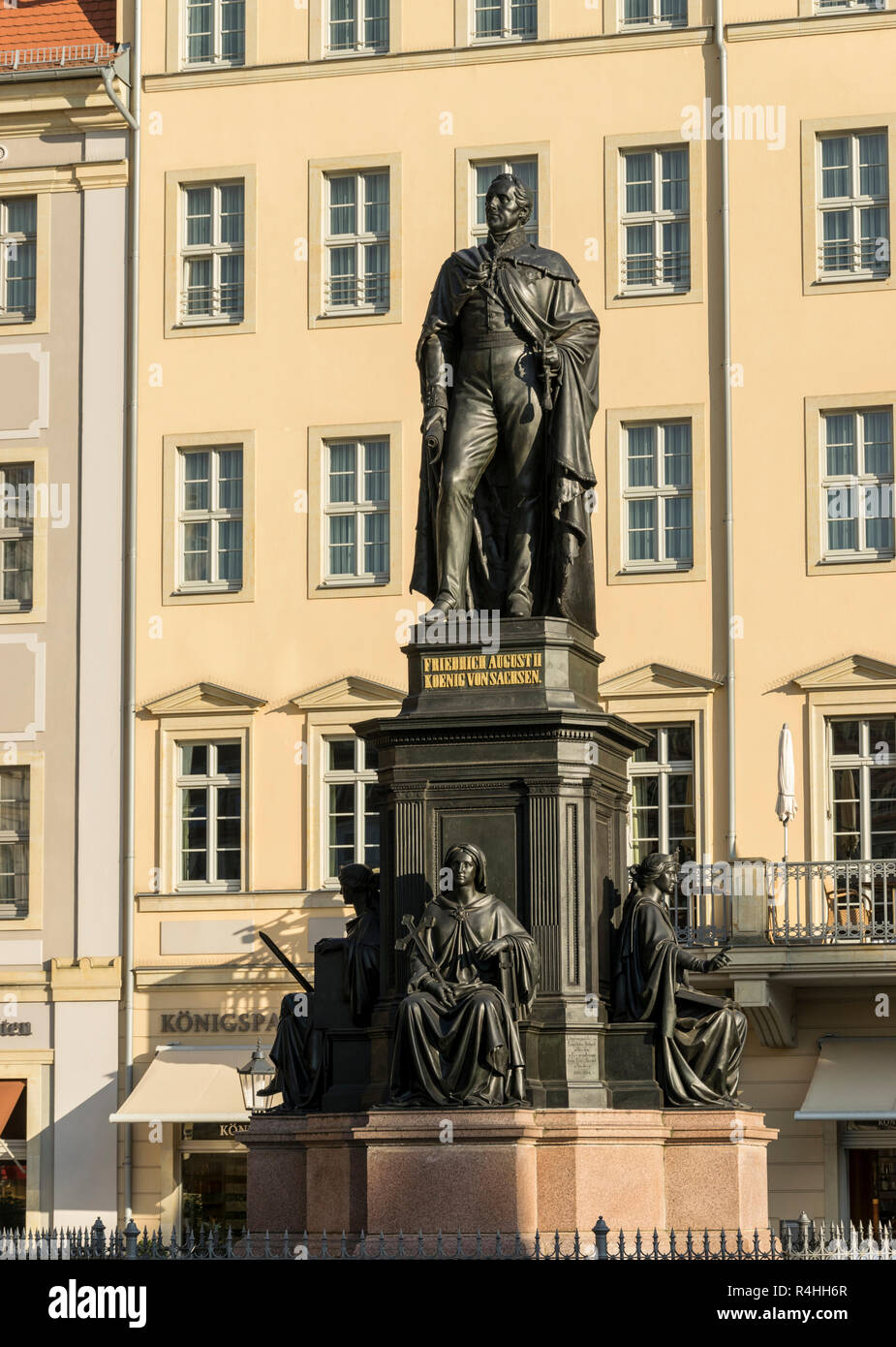 Dresden, Monument Friedrich August II in the new market , Denkmal Friedrich August II am Neumarkt - Stock Image