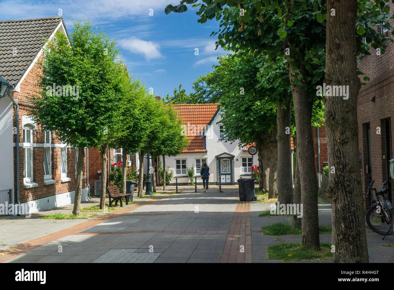 Nordfriesland, Old Town of Wyk on fa, Altstadt von Wyk auf F - Stock Image