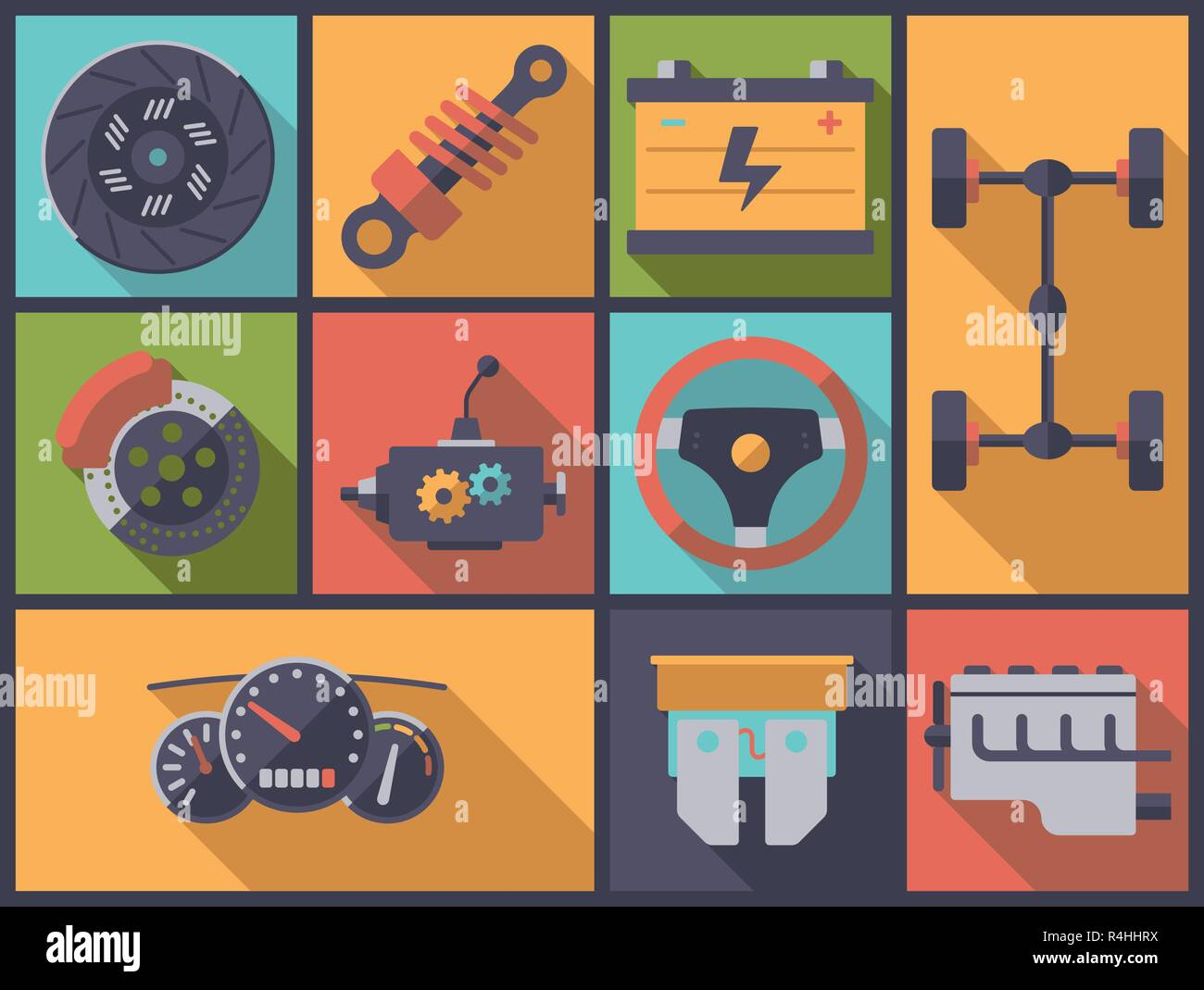 Horizontal flat design long shadow illustration with motor vehicle parts symbols - Stock Image