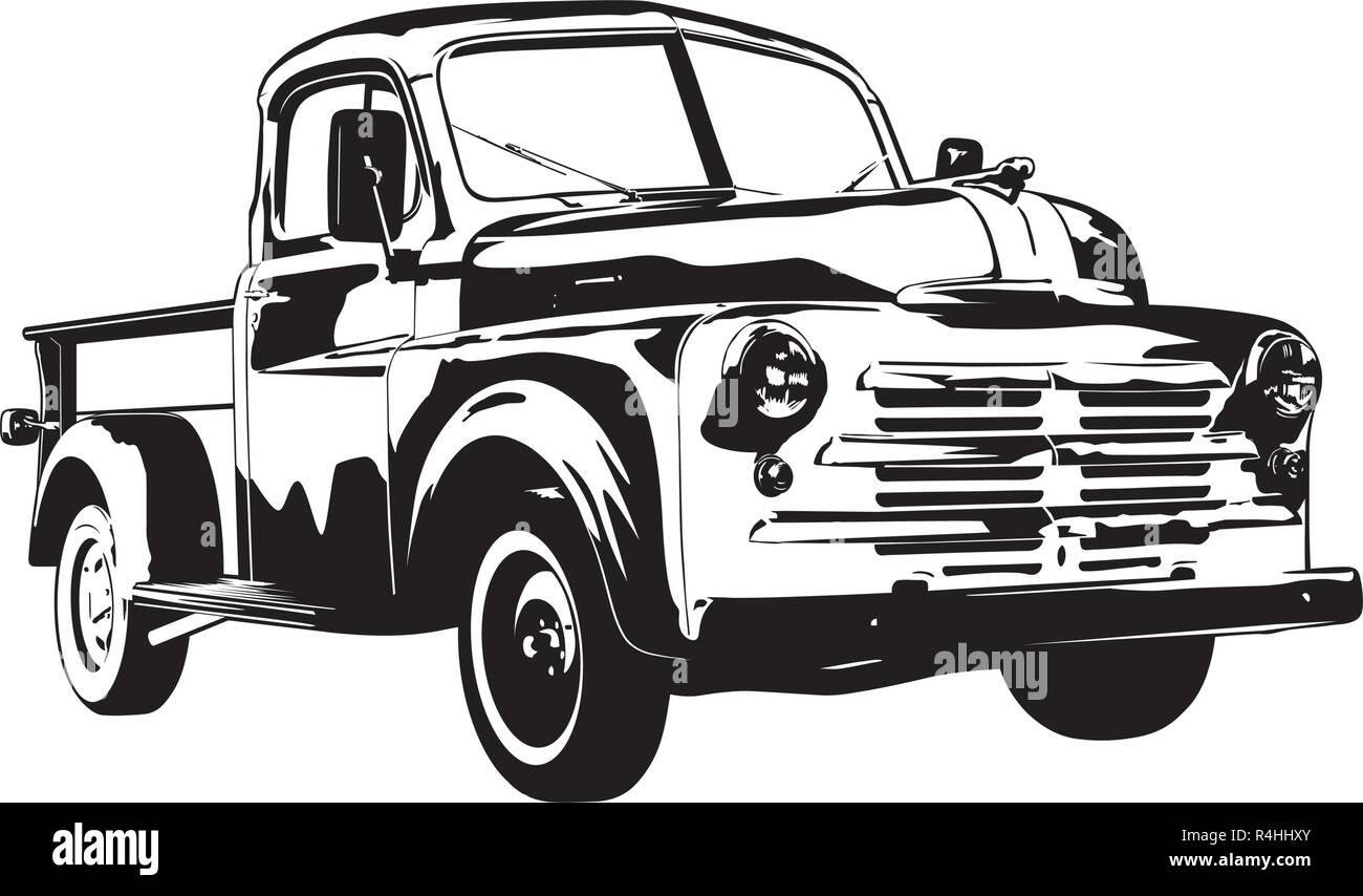 Vintage 1950 pickup truck silhouette vector illustration - Stock Vector
