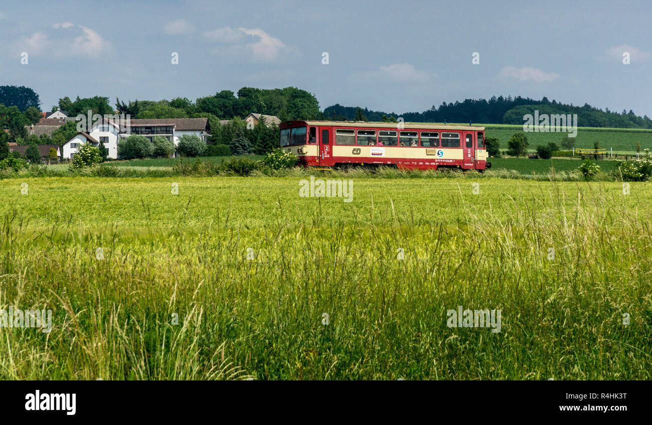 Böhmisches Paradies, Motor coaches of the regional traffic, Triebwagen des Regionalverkehrs - Stock Image