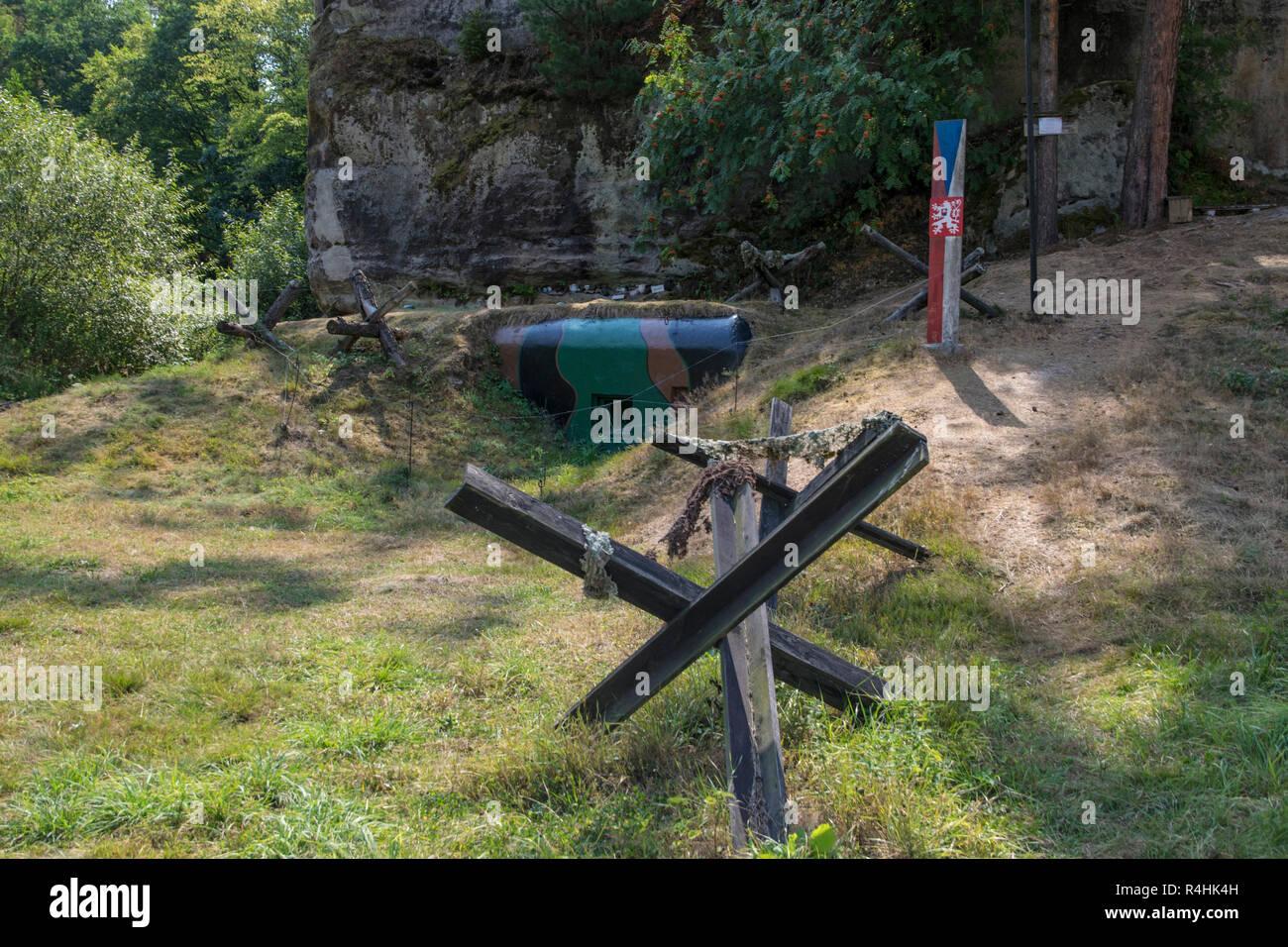 Böhmische Schweiz, Open-air museum to the bunker arrangement Schöberlinie with Srbská Kamenice, Windisch Kamnitz, Freilichtmuseum zur Bunkeranlage Sch Stock Photo