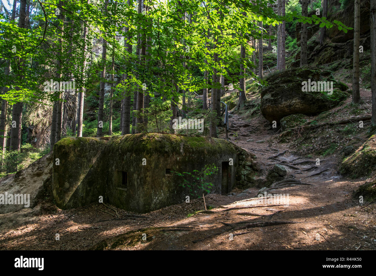 Böhmische Schweiz, Bunker of the Schöberlinie in the gorge of the Kamenice , Bunker der Schöberlinie in der Klamm der Kamenice - Stock Image