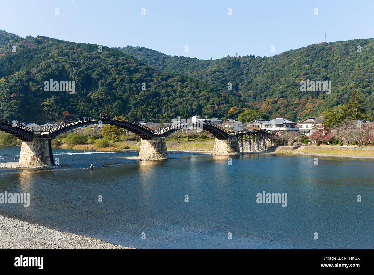 Kintaikyo Bridge in Iwakuni city Stock Photo