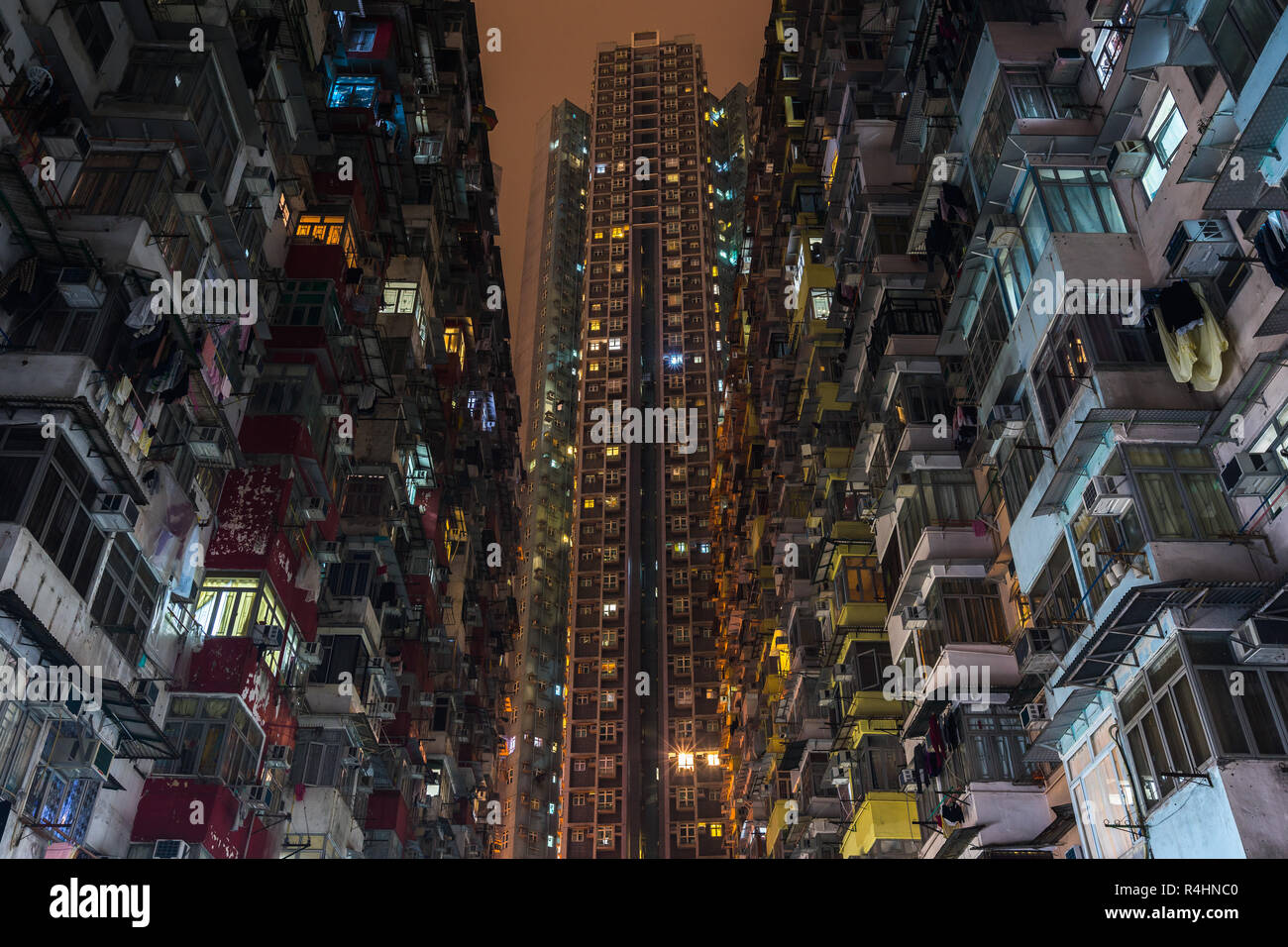 Night view of Montane Mansion or Yick Fat Building, know also as Concrete Jungle, has become famous as a set of Transformers movie - Stock Image