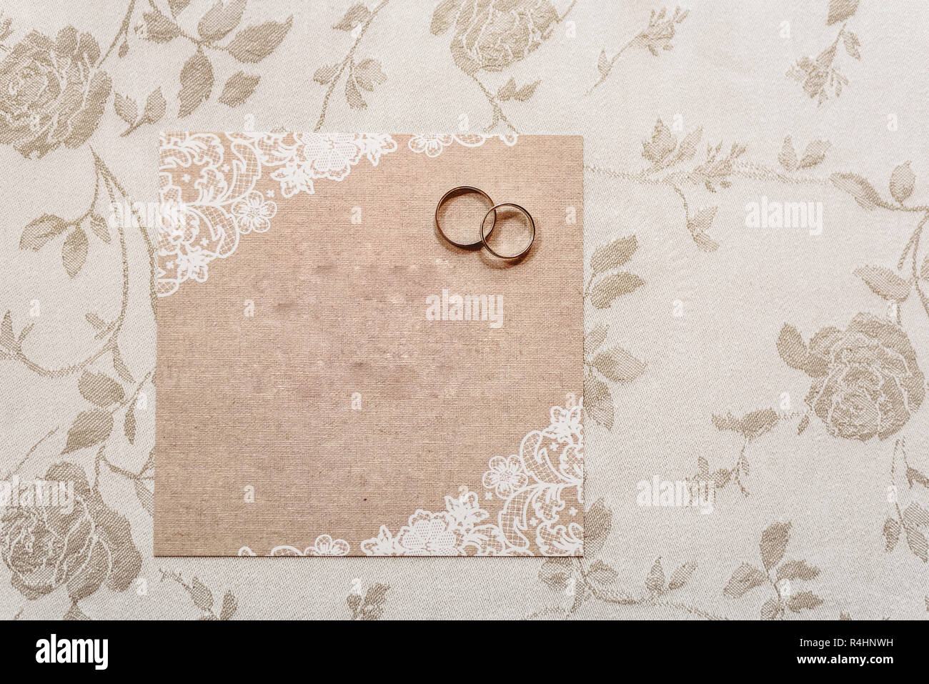 Wedding Invitation Card With Rings Empty With Space To Fill With Text Stock Photo Alamy