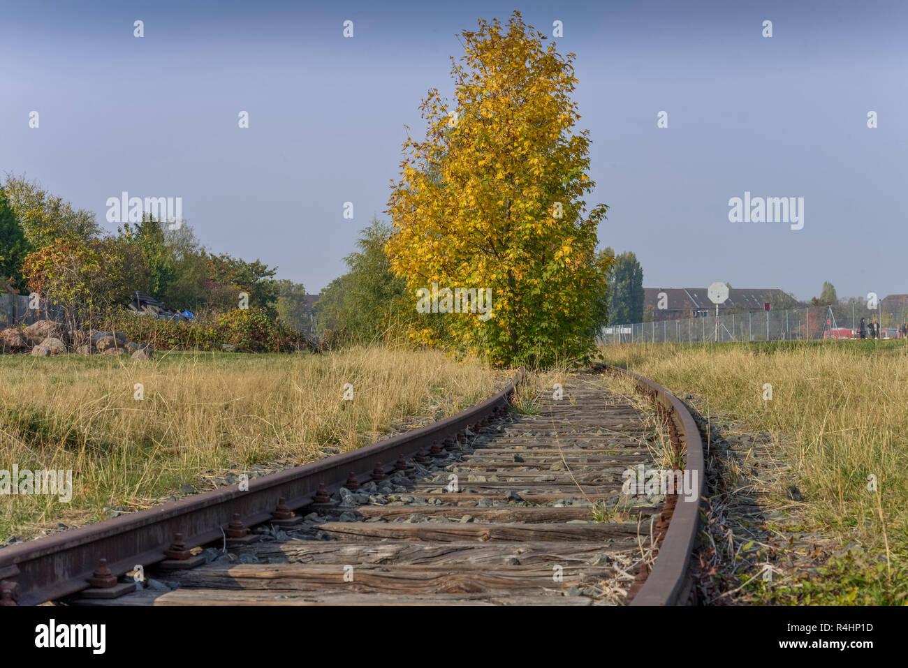 Rails, airport Tempelhof, Berlin, Germany, Schienen, Flughafen Tempelhof, Deutschland - Stock Image