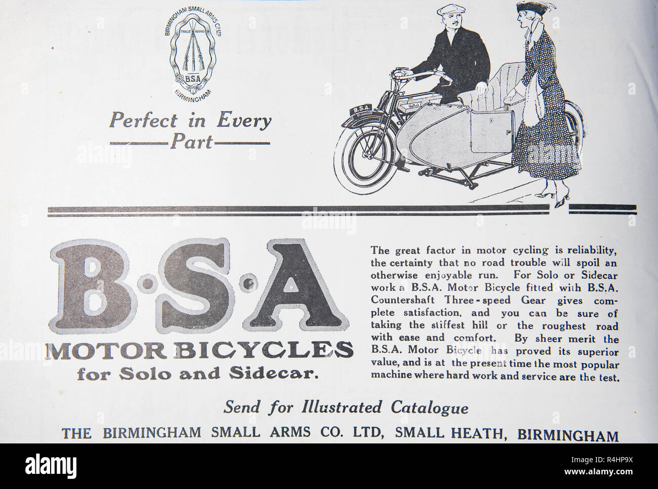 An old advert for B.S.A motorbicycles. From an old British magazine from the 1914-1919 period. - Stock Image