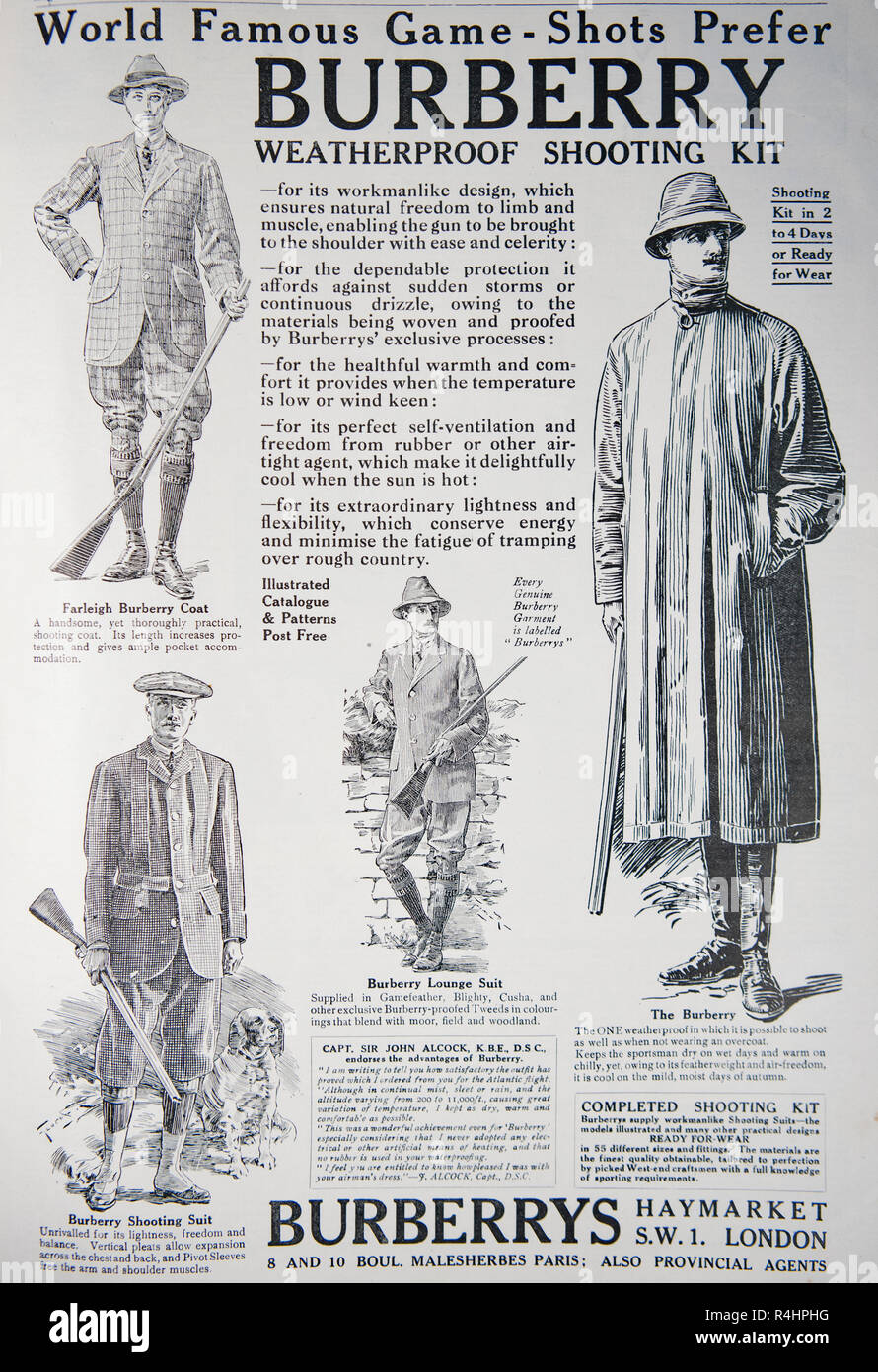 An old advert for Burberry shooting clothing. From an old British magazine from the 1914-1919 period. - Stock Image