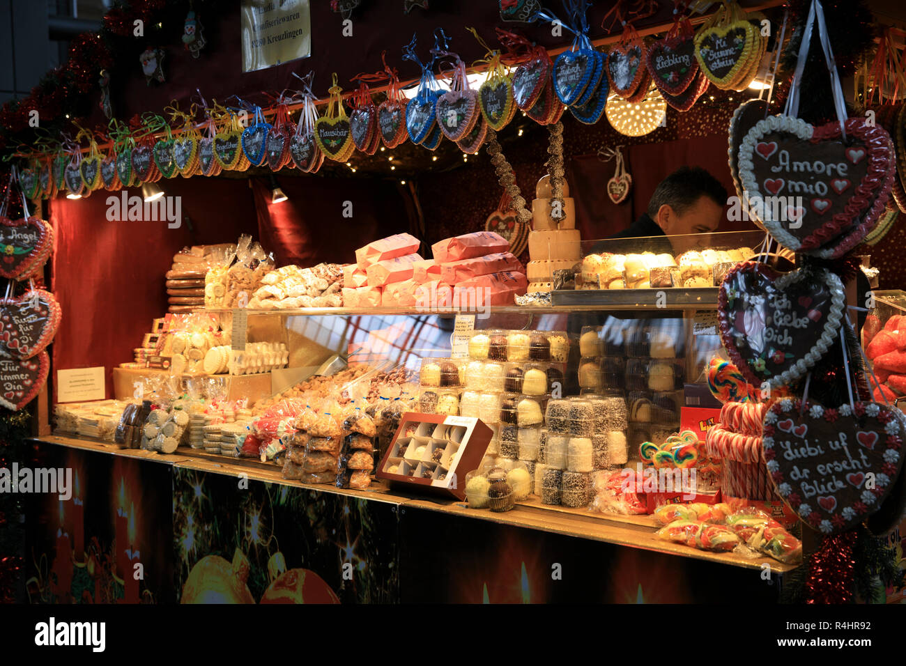 Christmas market decorations at Zurich train station, Zurich, Switzerland, Europe - Stock Image