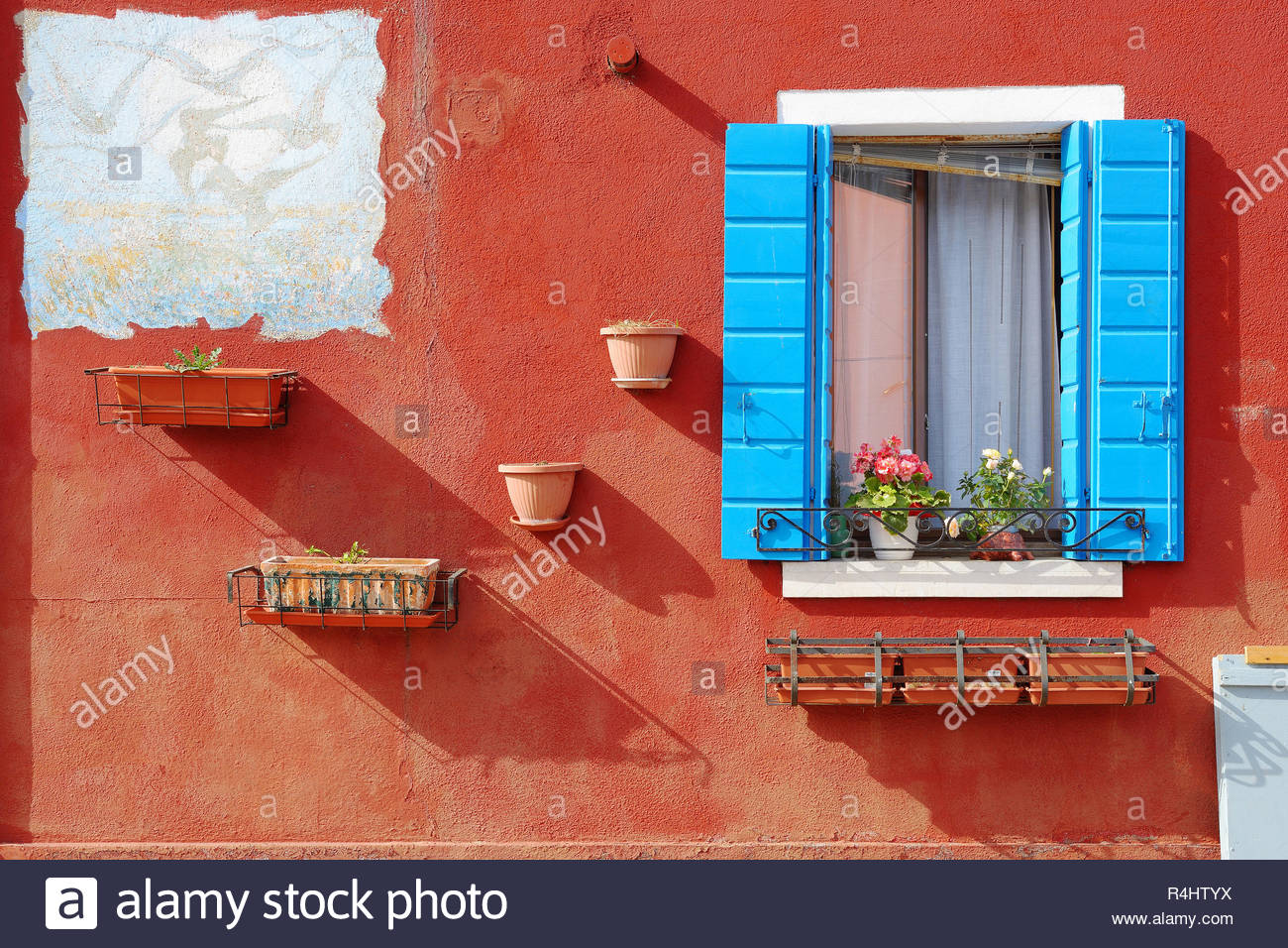 Colours of an Italian Village - Stock Image