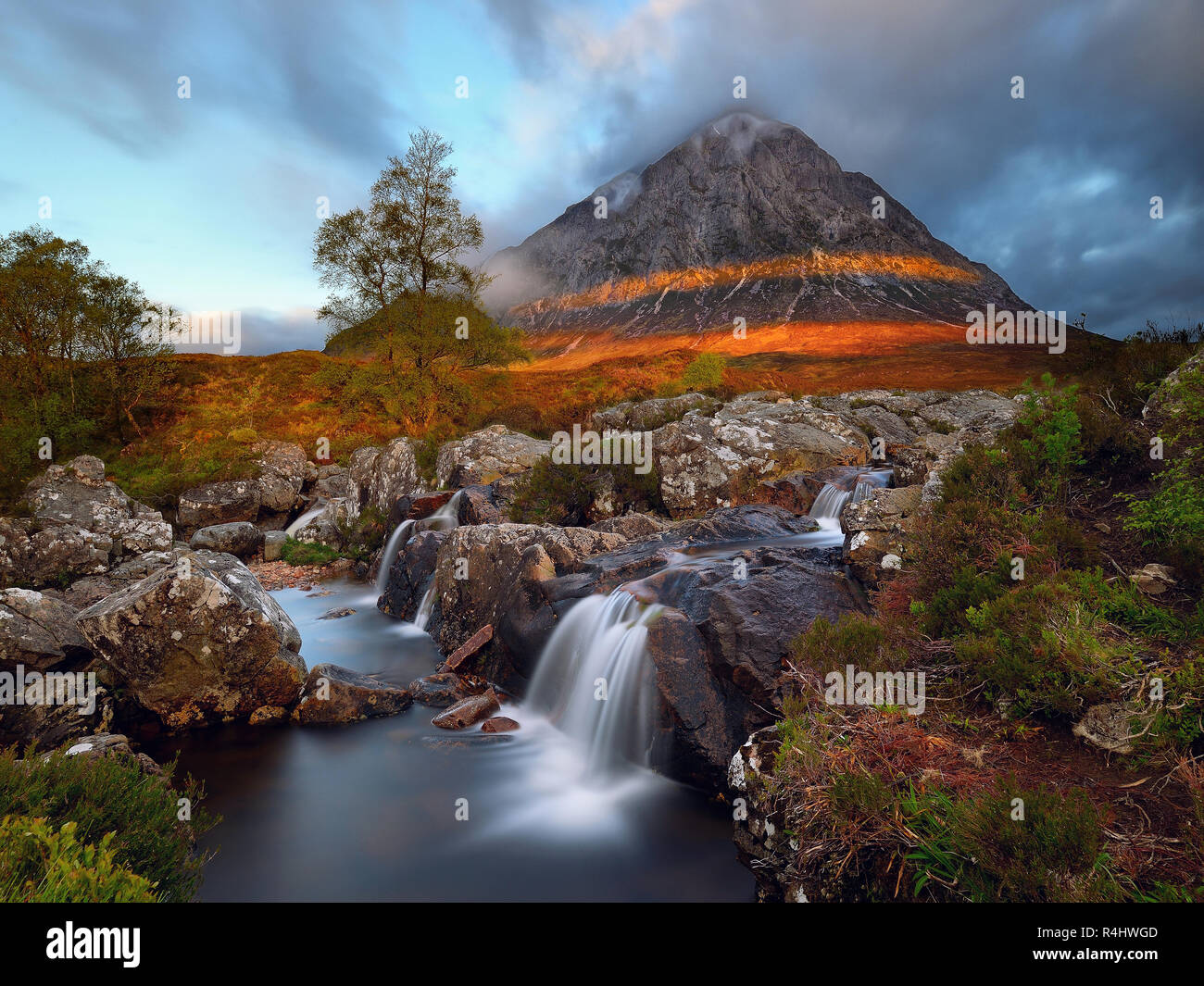 First Light on the Buachaille - Stock Image