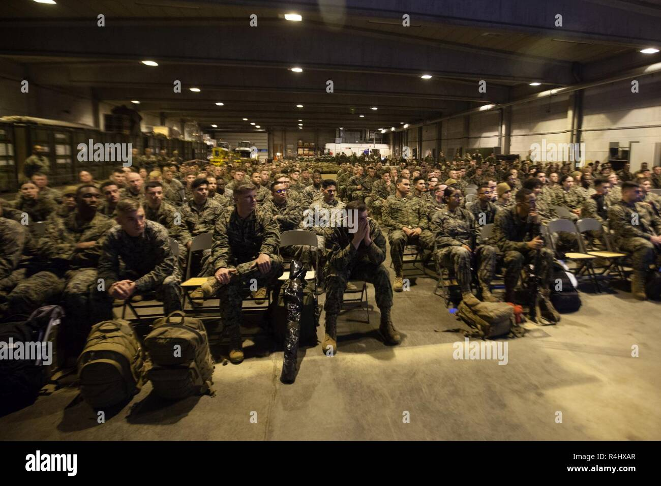 U S  Marines with 2nd Marine Logistics Group-Forward attend